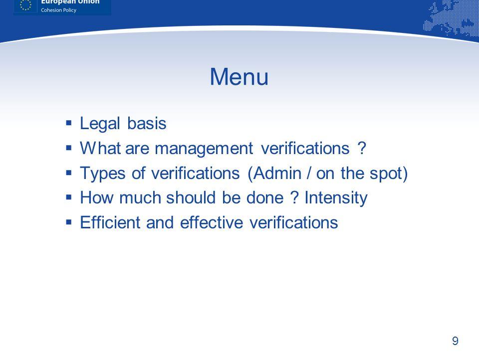 Menu Legal basis What are management verifications