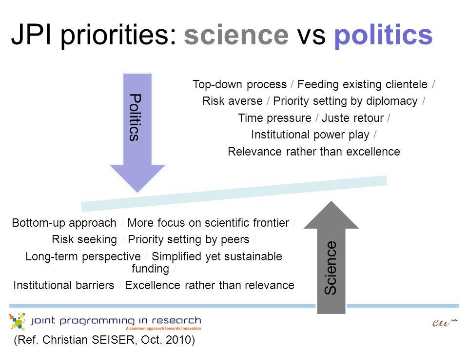 JPI priorities: science vs politics
