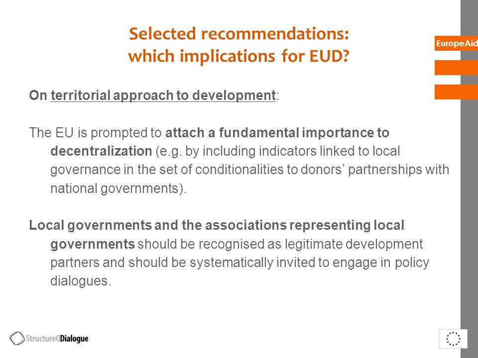 Selected recommendations: which implications for EUD