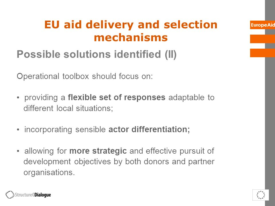 EU aid delivery and selection mechanisms
