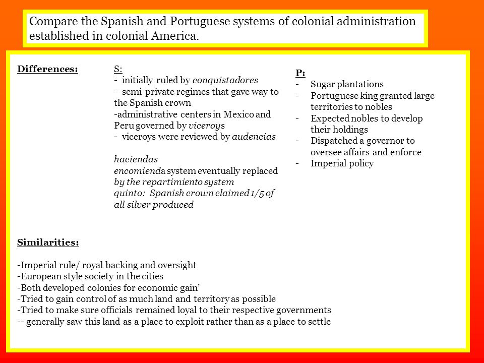compare and contrast spanish english and french colonization Card 8 / 15: compare and contrast life in the spanish, french, dutch, and english colonies, differentiating between the chesapeake bay and new england colonies.