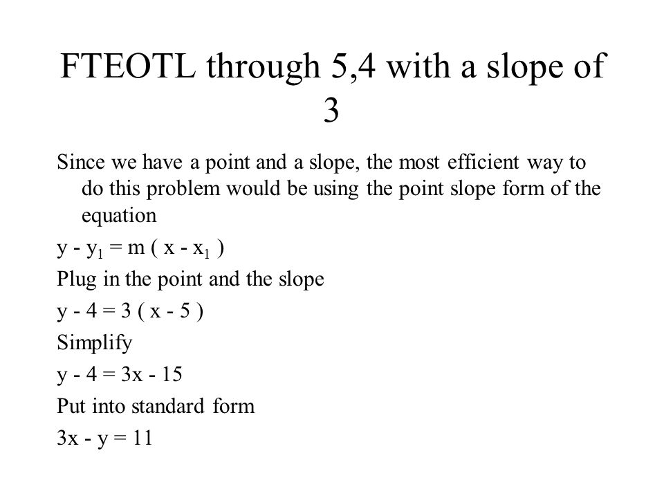 Find The Equation Of The Line Fteotl In Standard Form Ppt Video