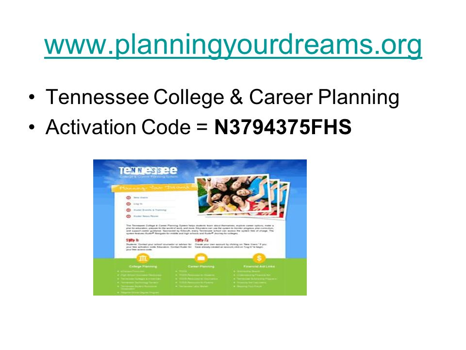 Counseling department ppt video online download for Planning your dreams org