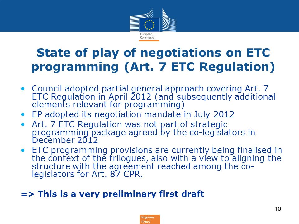 State of play of negotiations on ETC programming (Art