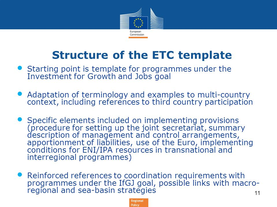 Structure of the ETC template