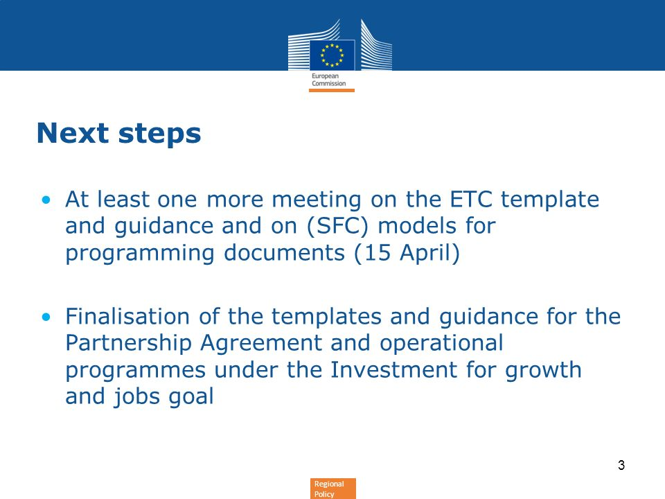 Next stepsAt least one more meeting on the ETC template and guidance and on (SFC) models for programming documents (15 April)