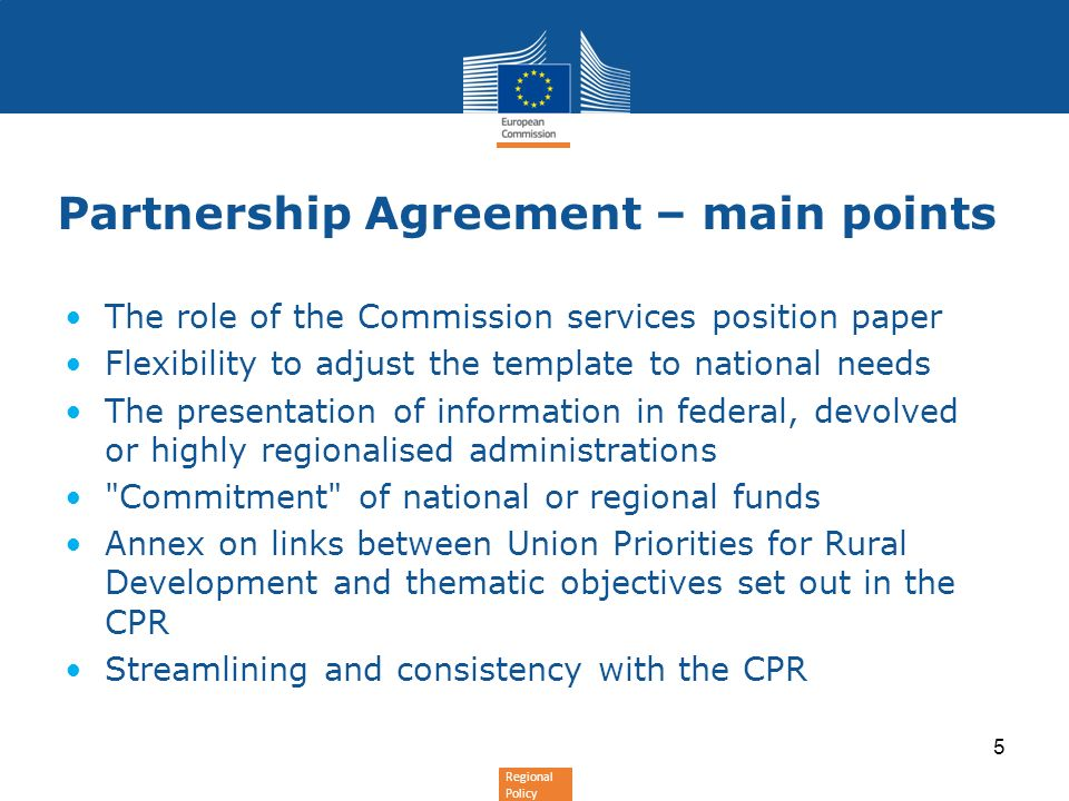 Partnership Agreement – main points