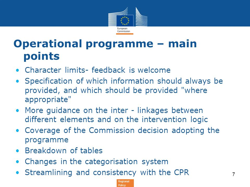 Operational programme – main points