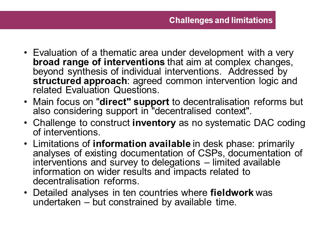 Challenges and limitations