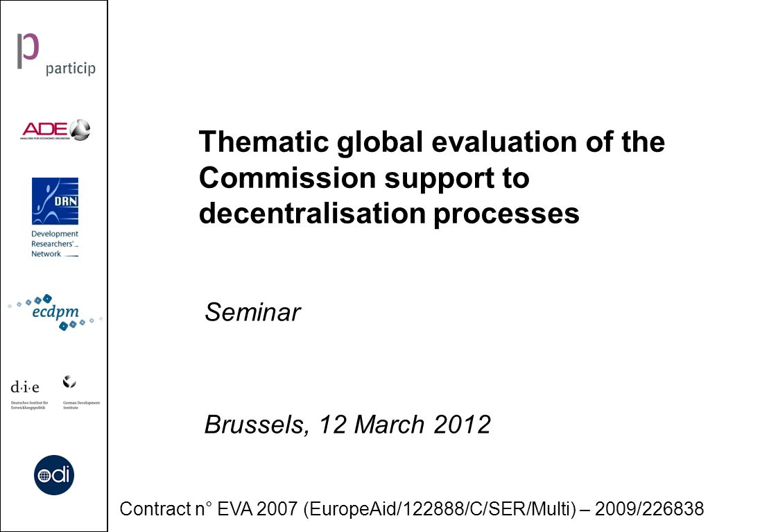 Thematic global evaluation of the Commission support to decentralisation processes