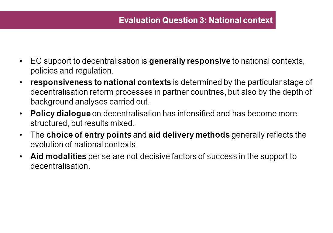 Evaluation Question 3: National context