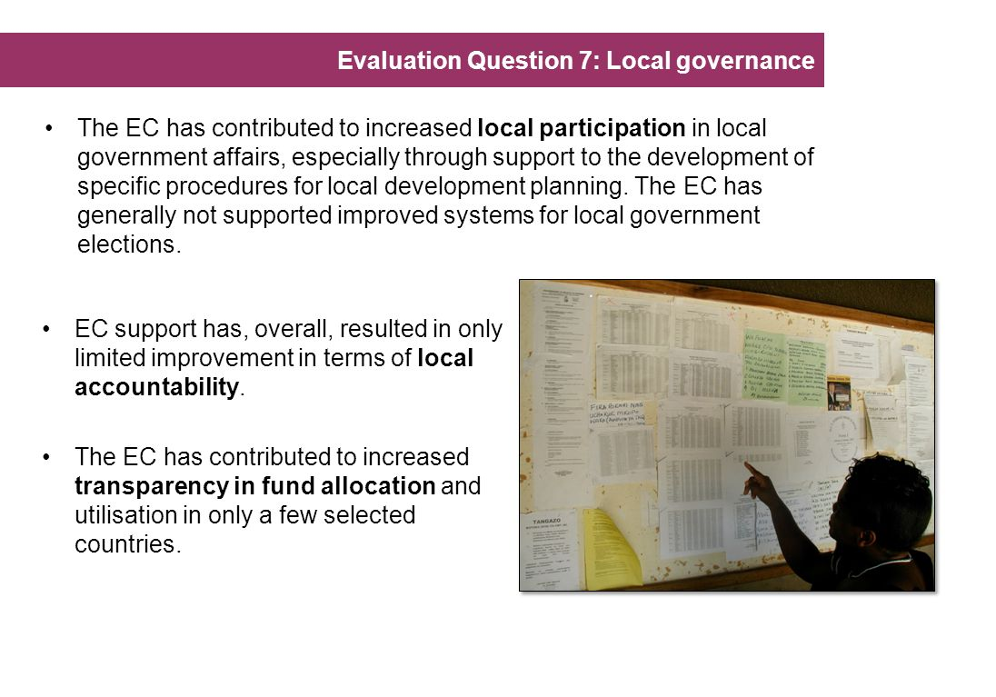 Evaluation Question 7: Local governance