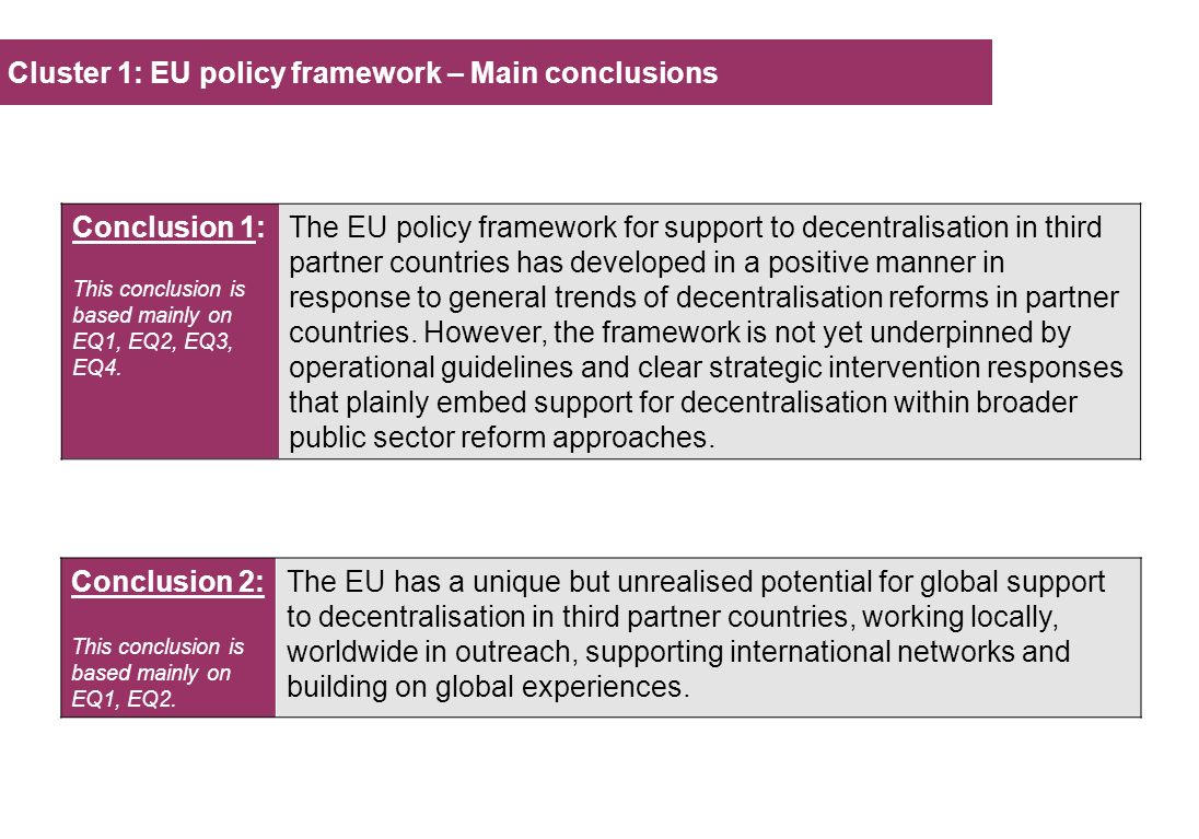 Cluster 1: EU policy framework – Main conclusions