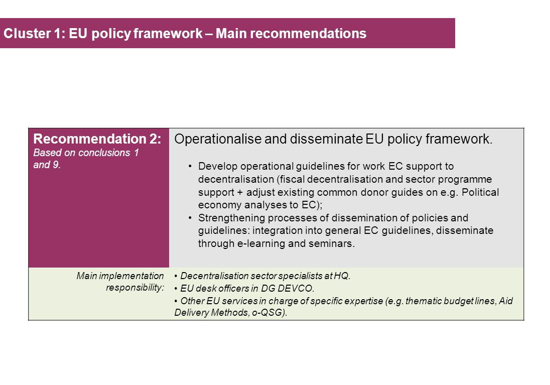 Cluster 1: EU policy framework – Main recommendations