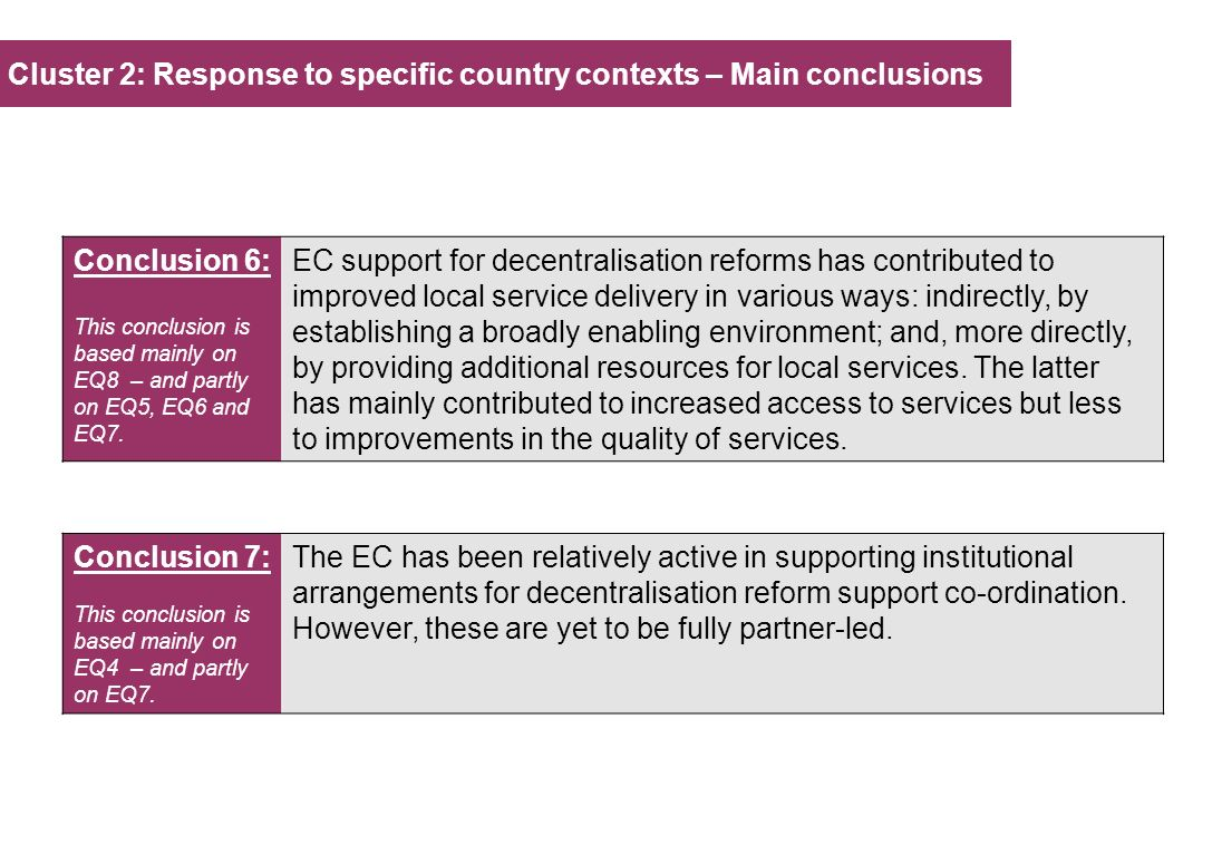 Cluster 2: Response to specific country contexts – Main conclusions