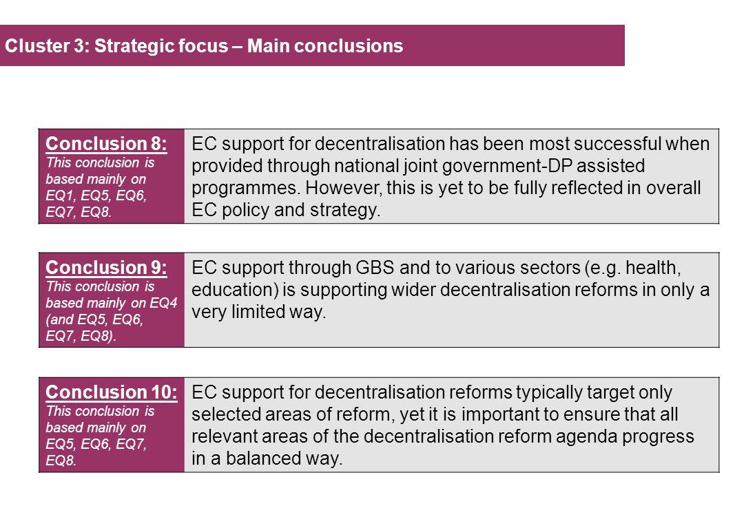 Cluster 3: Strategic focus – Main conclusions