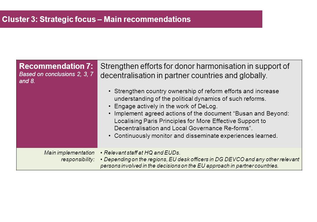 Cluster 3: Strategic focus – Main recommendations