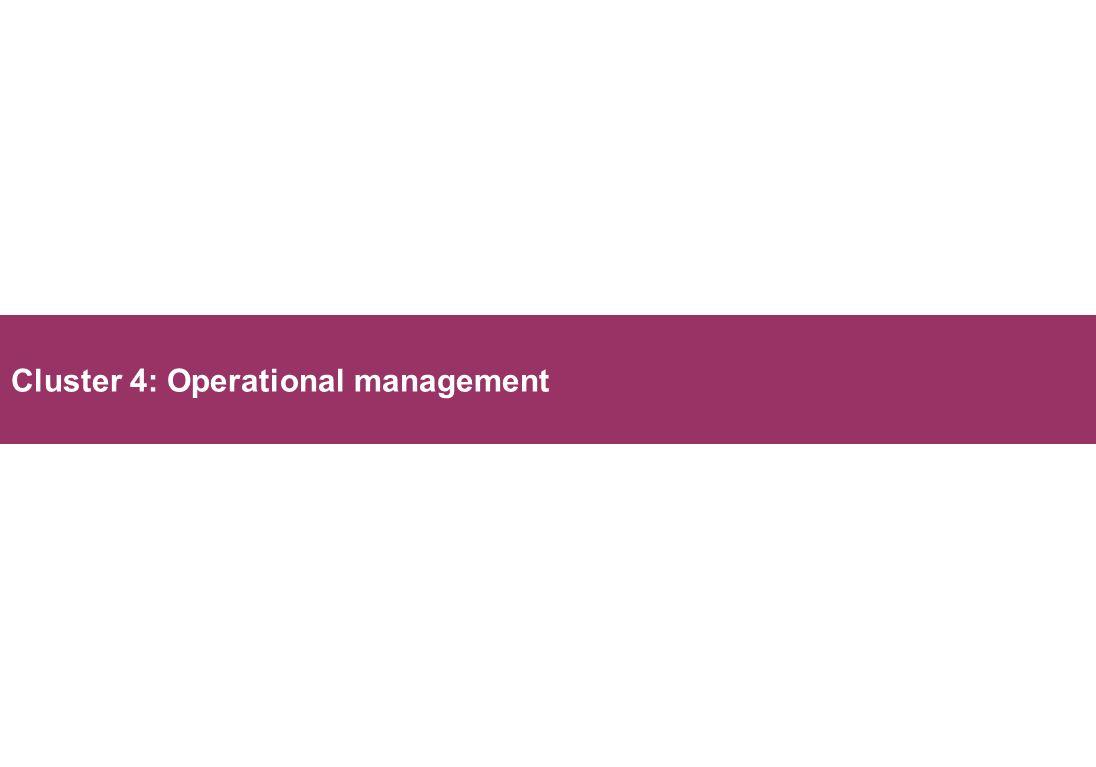 Cluster 4: Operational management