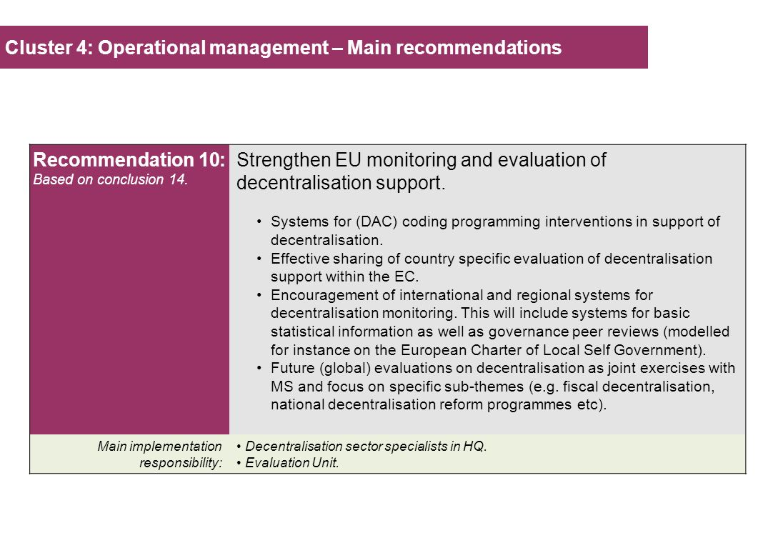 Cluster 4: Operational management – Main recommendations