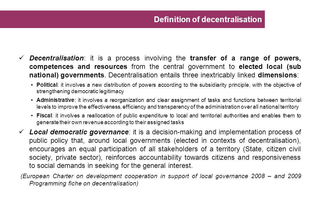 Definition of decentralisation