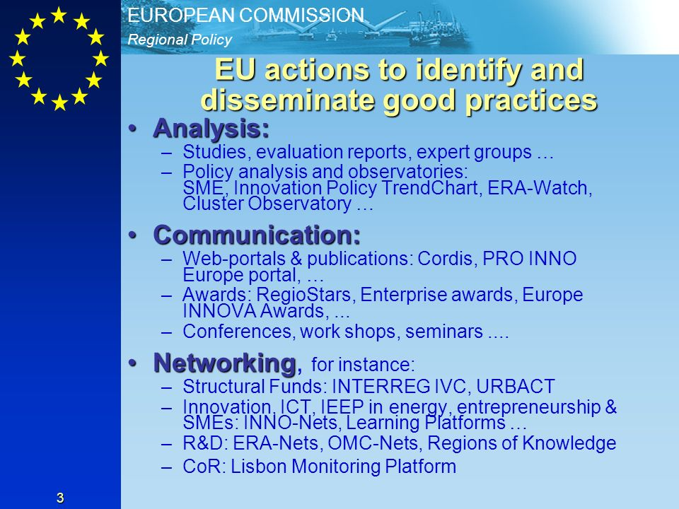 EU actions to identify and disseminate good practices