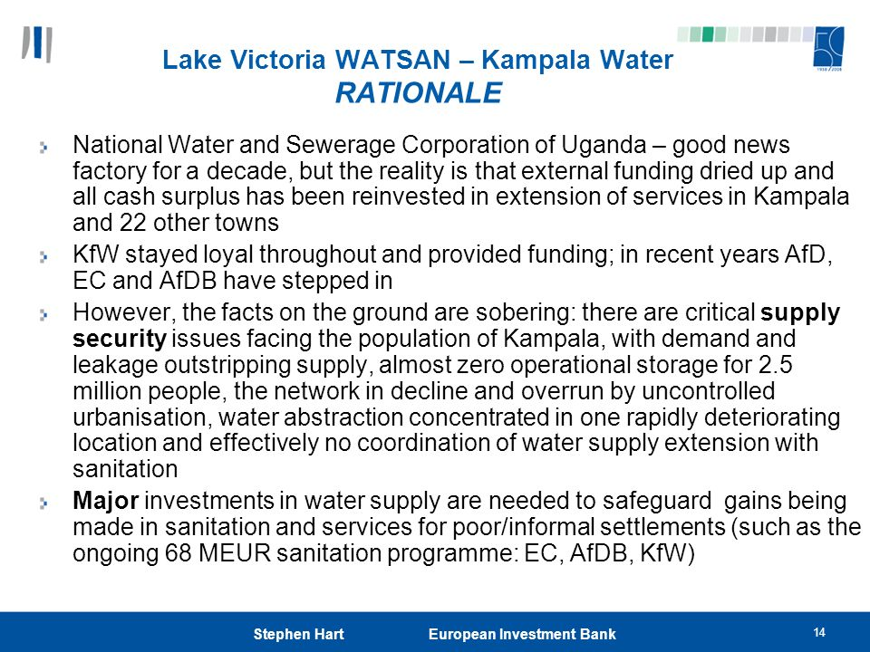 Lake Victoria WATSAN – Kampala Water RATIONALE