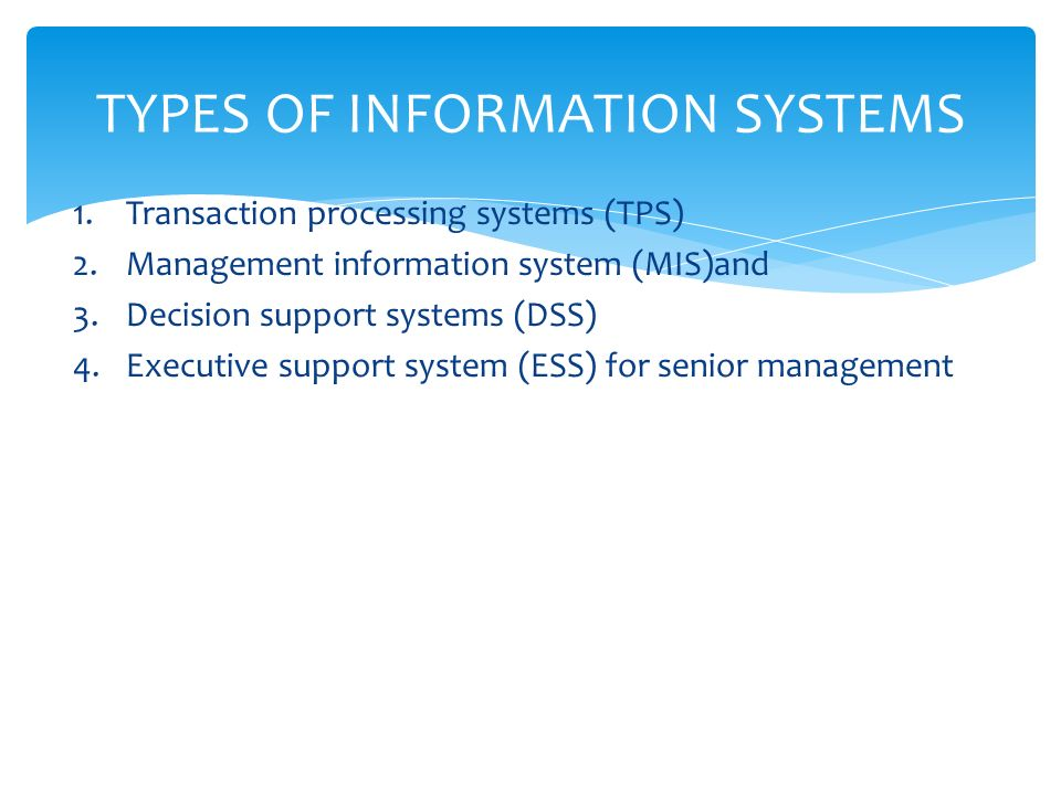types of management information
