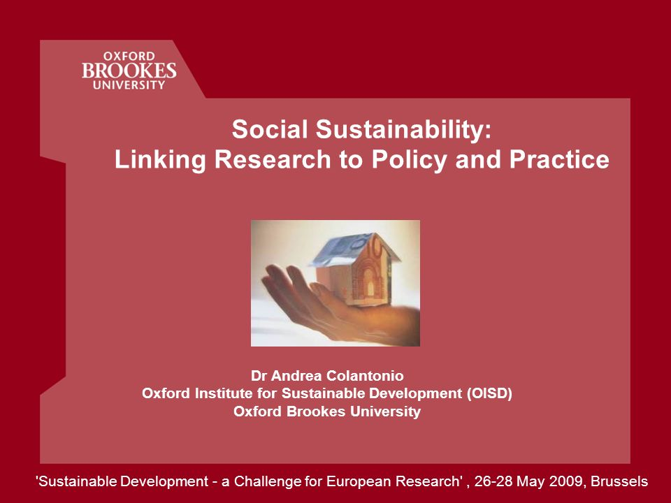 Social Sustainability: Linking Research to Policy and Practice