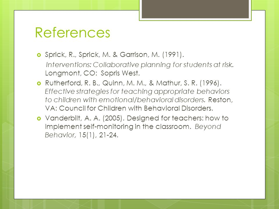 Classroom Design For Students With Emotional And Behavioral Disorders ~ The effects of self monitoring on student academic and