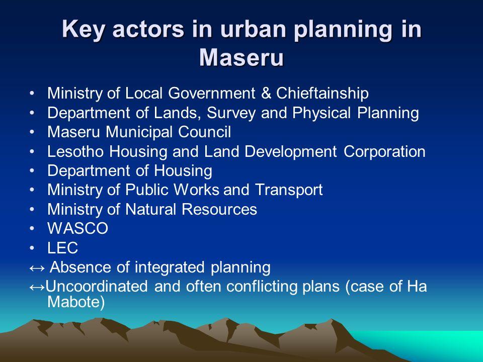 Key actors in urban planning in Maseru