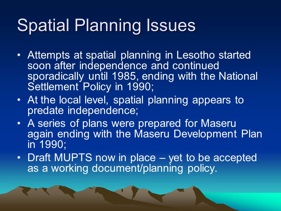 Spatial Planning Issues