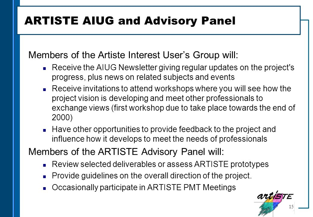 ARTISTE AIUG and Advisory Panel