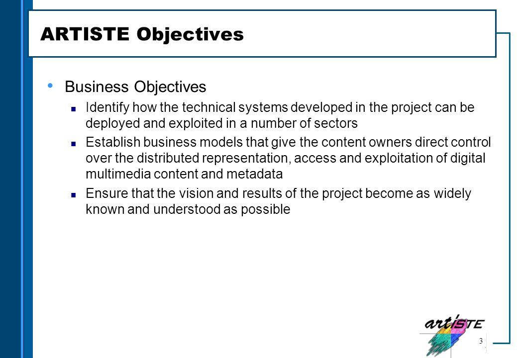 ARTISTE Objectives Business Objectives