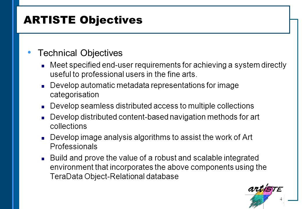 ARTISTE Objectives Technical Objectives