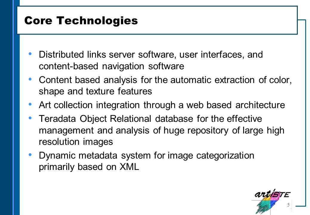 Core Technologies Distributed links server software, user interfaces, and content-based navigation software.