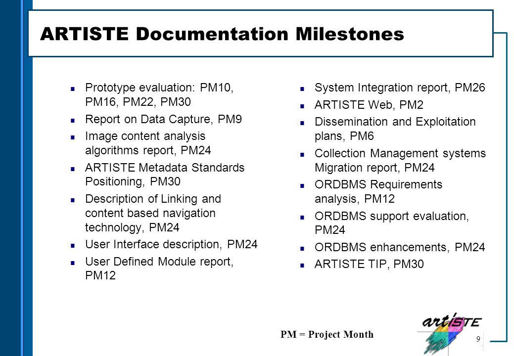 ARTISTE Documentation Milestones