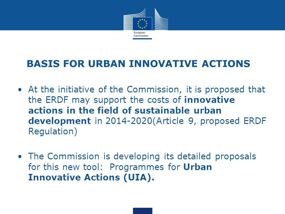BASIS FOR URBAN INNOVATIVE ACTIONS