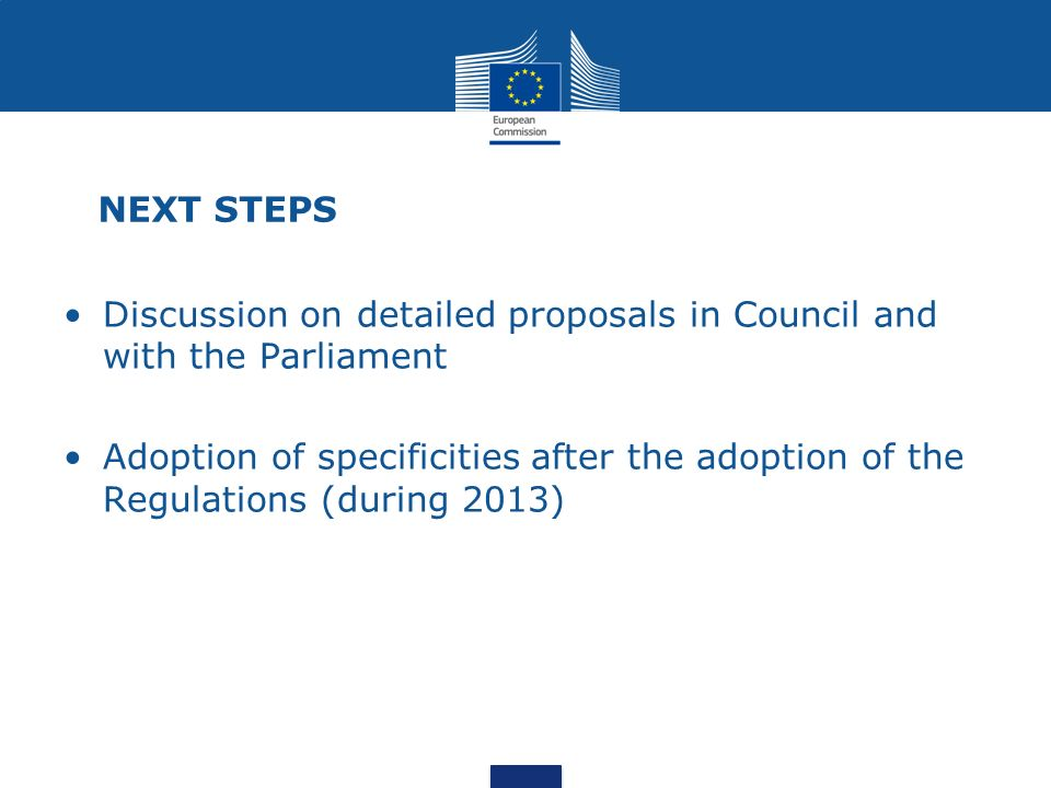 NEXT STEPS Discussion on detailed proposals in Council and with the Parliament.