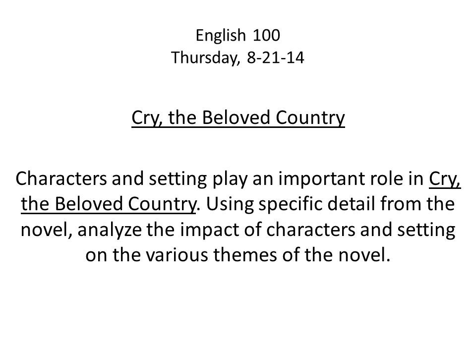 cry the beloved country symbolism essay A microcosm is a form of symbolism that uses a this site offers a literary analysis of cry, the beloved country cry, the beloved country essay.