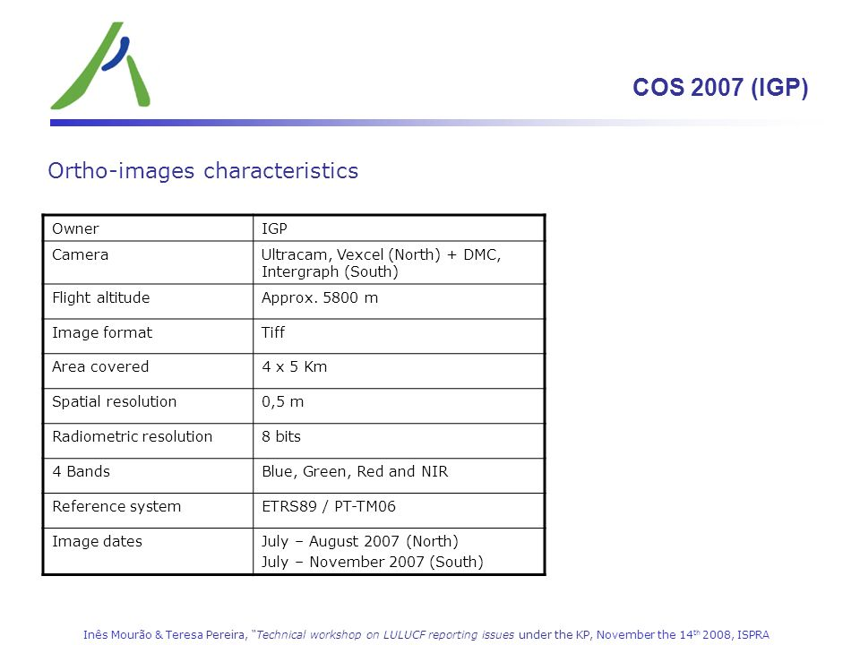 COS 2007 (IGP) Ortho-images characteristics Owner IGP Camera