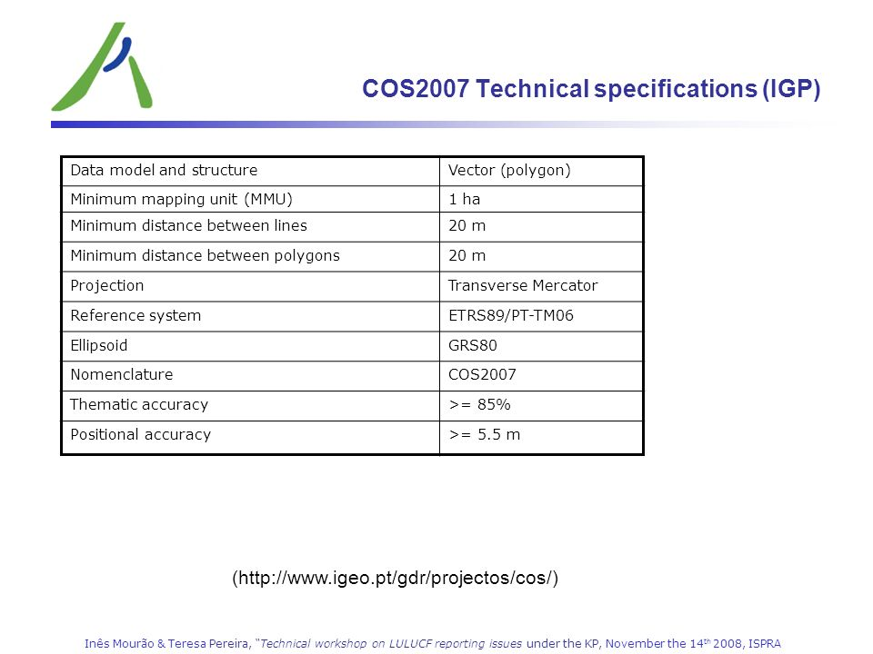 COS2007 Technical specifications (IGP)