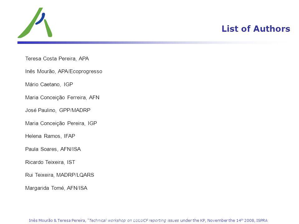 List of Authors LULUCF (CRF 5) Teresa Costa Pereira, APA