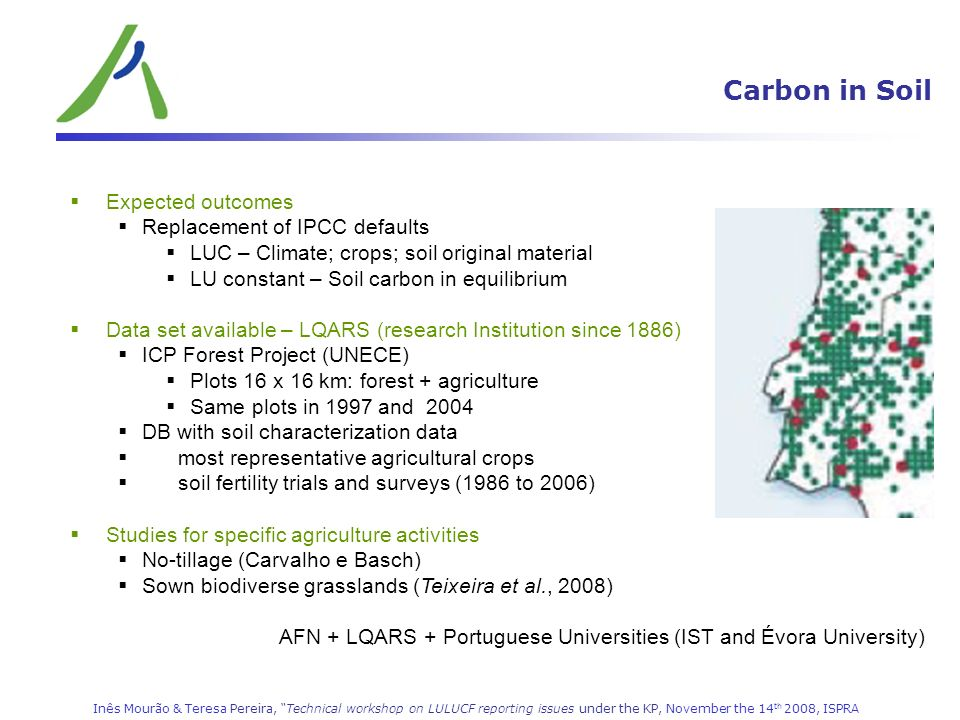 Carbon in Soil LULUCF (CRF 5) Expected outcomes