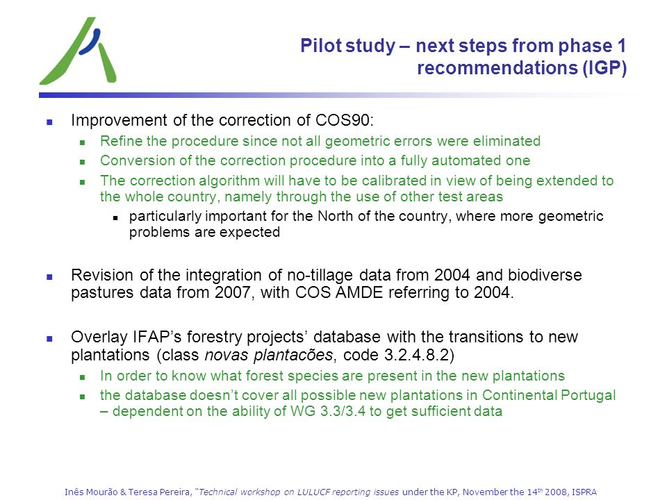 Pilot study – next steps from phase 1 recommendations (IGP)