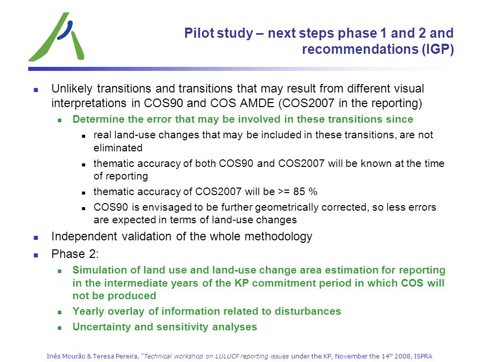 Pilot study – next steps phase 1 and 2 and recommendations (IGP)