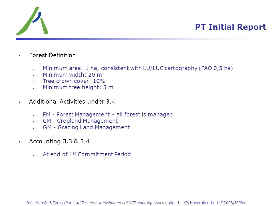 LULUCF (CRF 5) PT Initial Report Forest Definition