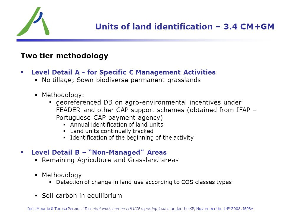 Units of land identification – 3.4 CM+GM