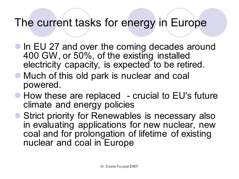 The current tasks for energy in Europe