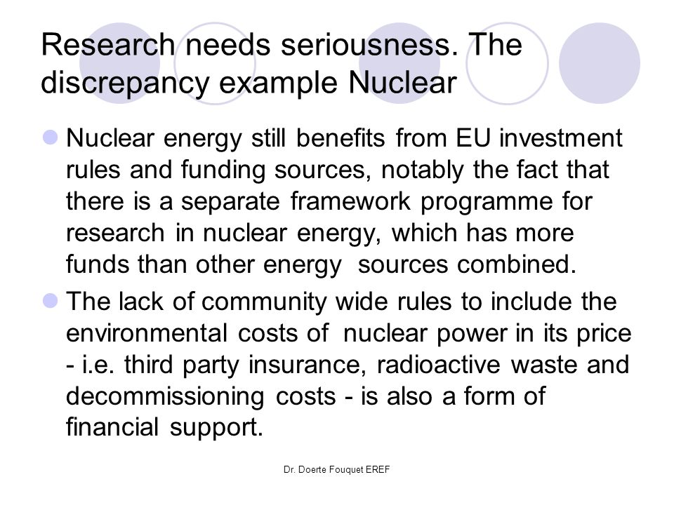 Research needs seriousness. The discrepancy example Nuclear