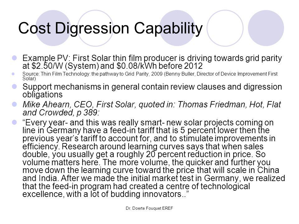 Cost Digression Capability
